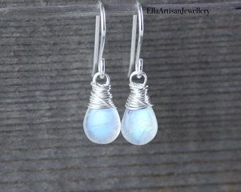 Rainbow Moonstone & Sterling Silver Dainty Drop Earrings, AAA Blue Flash Gemstone Small Dangle Earrings, Wire Wrapped Jewelry for Women