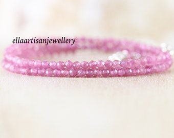 Pink Tourmaline Multi Wrap Bracelet. Sterling Silver, Rose, Gold Filled. Dainty Gemstone Bracelet. Delicate Tiny Beaded Jewelry for Women