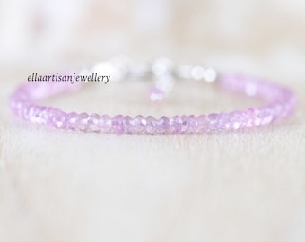 Lilac Pink Amethyst Dainty Bracelet in Sterling Silver, Gold or Rose Gold Filled, Light Purple Gemstone Delicate Stacking Bracelet for Women