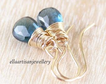 London Blue Topaz & 14Kt Gold Filled Earrings. Genuine Untreated Gemstone Dainty Drop Earrings. Small Wire Wrapped Dangle Earrings for Women