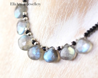 Labradorite & Black Spinel Bib Necklace in Sterling Silver, Gold or Rose Gold Filled. Blue Flash Gemstone Choker. Dainty Beaded Boho Jewelry