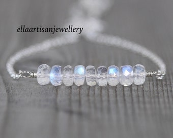 Rainbow Moonstone Choker Necklace in Sterling Silver, Gold or Rose Gold Filled, AAAA Blue Flash Gemstone, Dainty & Delicate Layering Jewelry