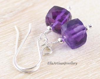 Amethyst Dainty Cube Earrings in Sterling Silver, 14Kt Gold or Rose Gold Filled, AAA Purple Gemstone Dangle Earrings, Jewelry for Women
