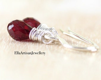 Ruby Drop Earrings in 925 Sterling Silver, 14Kt Gold or Rose Gold Filled. Dainty Red Gemstone Wire Wrapped Dangle Earrings for Women