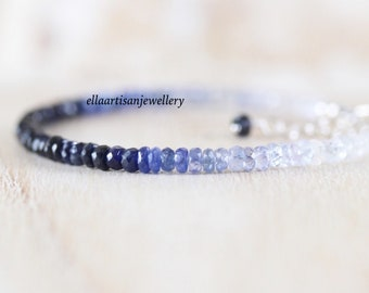 Ombre Blue Sapphire Dainty Bracelet in Sterling Silver, Gold or Rose Gold Filled. Delicate Beaded Gemstone Stacking Bracelet for Women