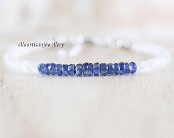 Kyanite & Rainbow Moonstone Dainty Bracelet. Sterling Silver, Rose, Gold Filled. Delicate Blue Gemstone Beaded Stacking Bracelet for Women
