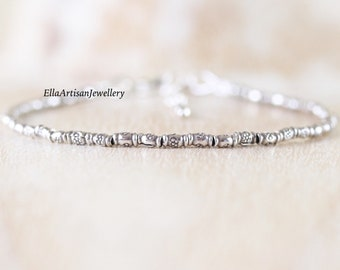 Sterling & Fine Silver Dainty Bracelet, Karen Hill Tribe Silver Oxidised Imprint Bamboo Bead Bracelet, Delicate Stacking Bracelet for Women