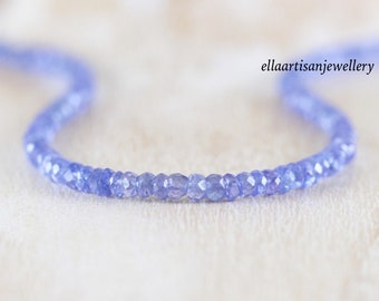 Tanzanite Delicate Beaded Necklace in Sterling Silver, Gold or Rose Gold Filled, Dainty Gemstone Choker, Long layering Necklace for Women