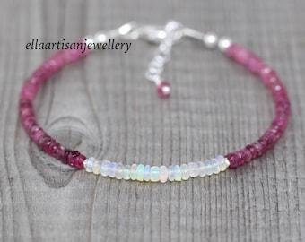 Ethiopian Welo Opal & Pink Tourmaline Bracelet. Sterling Silver, Rose, Gold Filled. Dainty Delicate AAA Gemstone Stacking Bracelet for Women