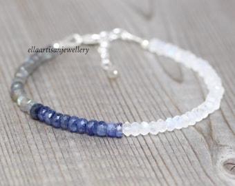 Sapphire, Labradorite & Rainbow Moonstone Bracelet in Sterling Silver, Gold or Rose Gold Filled. Dainty Blue Gemstone Bracelet for Women