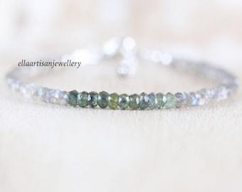 Sapphire & Labradorite Dainty Bracelet. Sterling Silver, Rose, Gold Filled. Ombre Blue Green Gemstone Delicate Stacking Bracelet for Women