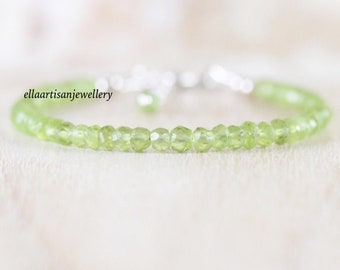 Peridot Dainty Bracelet in Sterling Silver, Gold or Rose Gold Filled. Delicate Green Gemstone Beaded Stacking Bracelet. August Birthstone