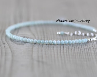 Amazonite Delicate Beaded Bracelet in Sterling Silver, Gold or Rose Gold Filled. Dainty Gemstone Stacking Bracelet. Fine Jewelry for Women