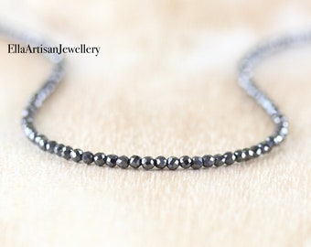 Hematite Delicate Beaded Necklace in Sterling Silver, Gold or Rose Gold Filled. Dainty Gemstone Choker. Long Layering Necklace for Women