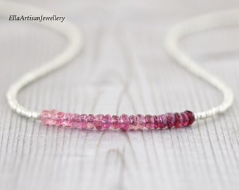 Pink Tourmaline, Czech Seed Bead & Sterling Silver Necklace. Delicate Ombre Gemstone Choker. Dainty Tiny Beaded Layering Jewelry for Women