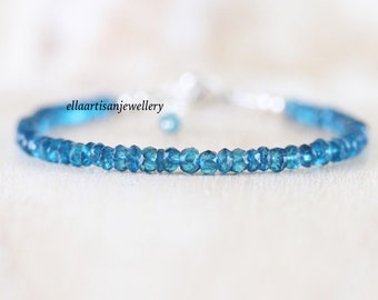 London Blue Topaz Beaded Bracelet in Sterling Silver, Gold or Rose Gold Filled. Dainty & Delicate Gemstone Stacking Bracelet for Women