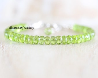 Peridot Beaded Bracelet in Sterling Silver, Gold or Rose Gold Filled. AAAA Gemstone Stacking Bracelet for Women. 5 to 6mm Faceted Rondelle