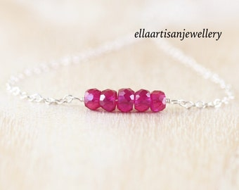 Ruby Bar Necklace on Sterling Silver, Gold or Rose Gold Filled Chain, Dainty Precious Gemstone Choker, Delicate Fine Jewelry for Women