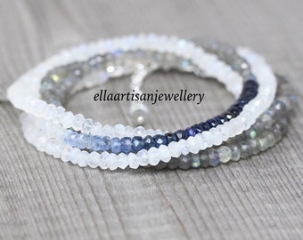Sapphire, Labradorite & Rainbow Moonstone Wrap Bracelet in Sterling Silver, Gold or Rose Gold Filled. Dainty Ombre Blue Gemstone Jewelry