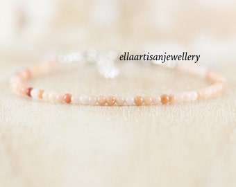 Apricot Pink Aventurine Bracelet in Sterling Silver, Gold or Rose Gold Filled. Dainty Gemstone Stacking Bracelet. Delicate Jewelry for Women