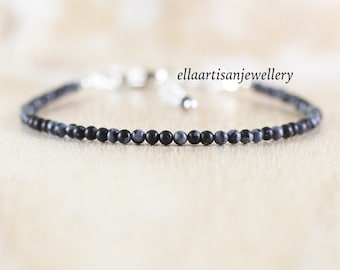 Snowflake Obsidian Dainty Bracelet in Sterling Silver, Gold or Rose Gold Filled. Delicate Gemstone Stacking Bracelet. Boho Jewelry for Women