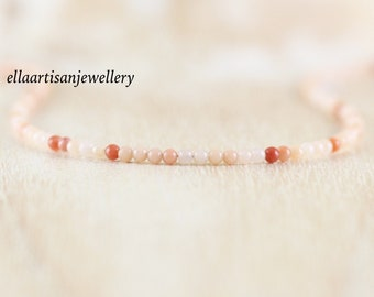 Apricot Pink Aventurine Delicate Beaded Necklace. Sterling Silver, Gold or Rose Gold Filled. Dainty Gemstone Choker. Long Layering Necklace