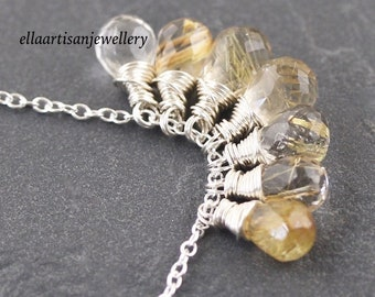 Golden Rutilated Quartz Necklace, Cluster Pendant in Sterling Silver, 14Kt Gold or Rose Gold Filled. Wire Wrapped Gemstone Jewelry for Women