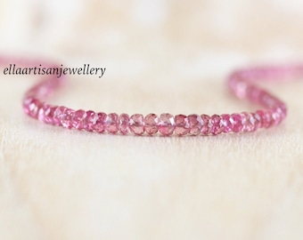 Pink Spinel Beaded Necklace in Sterling Silver, Gold or Rose Gold Filled, Dainty Gemstone Choker, Long Delicate Layering Necklace for Women