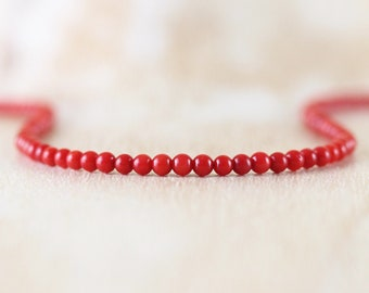 Red Coral Delicate Necklace. Sterling Silver, Rose, Gold Filled. Dainty Beaded Choker. Long Layering Necklace. Simple Boho Jewelry for Women