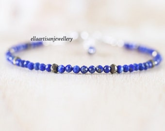 Lapis lazuli & Pyrite Bracelet in Sterling Silver, Gold or Rose Gold Filled, Dainty Blue Gemstone Stacking Bracelet, Delicate Beaded Jewelry