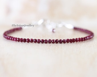 Ruby Beaded Bracelet in Sterling Silver, Gold or Rose Gold Filled. Dainty Tiny Gemstone Slim Stacking Bracelet. Delicate Jewelry for Women