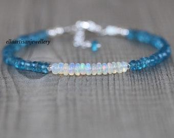Ethiopian Welo Opal & London Blue Topaz Bracelet in Sterling Silver, Gold or Rose Gold Filled. Dainty Gemstone Stacking Bracelet for Women