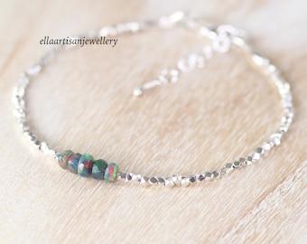 Ethiopian Black Welo Opal, Sterling & Fine Silver Bracelet, Dainty Karen Hill Tribe Thai Silver Jewelry, Delicate Tiny Beaded Jewelry