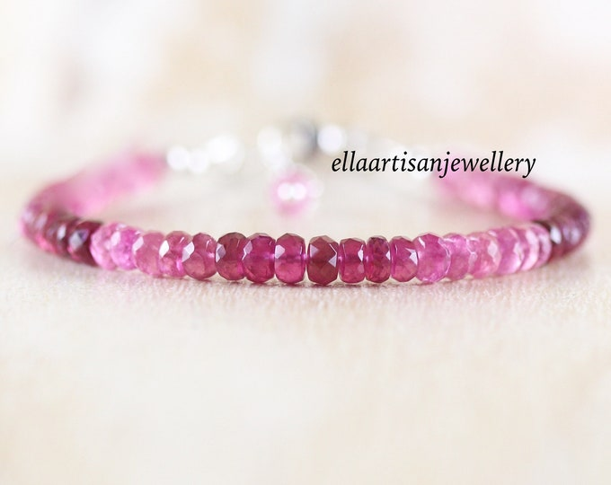 Featured listing image: Pink Tourmaline Beaded Bracelet in Sterling Silver, Gold or Rose Gold Filled. Dainty Gemstone Stacking Bracelet. Fine Jewelry Gift for Women