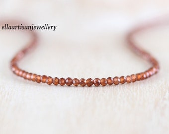 Delicate Garnet Beaded Necklace in Sterling Silver, Gold or Rose Gold Filled. Dainty Tiny Gemstone Choker. Long Layering Necklace for Women