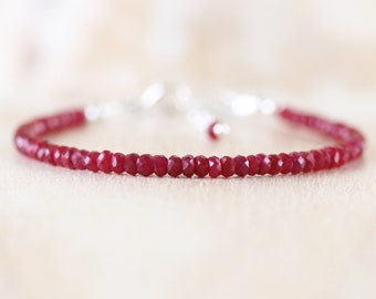 Ruby Dainty Beaded Bracelet. Sterling Silver, Rose, Gold Filled. Delicate AAA Gemstone Stacking Bracelet. Simple Layering Jewelry for Women