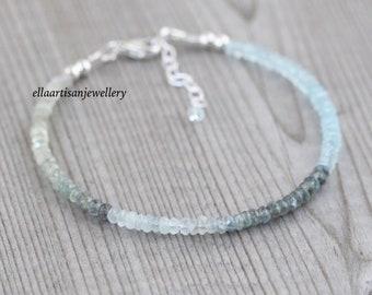Moss Aquamarine Dainty Beaded Bracelet in Sterling Silver, Gold or Rose Gold Filled, Delicate Ombre Gemstone Stacking Bracelet for Women