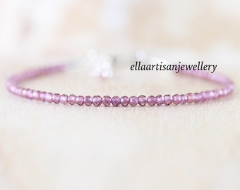 Purple Garnet Dainty Bracelet. Sterling Silver, Gold or Rose Gold Filled. Tiny Beaded Stacking Bracelet. Delicate Gemstone Jewelry for Women