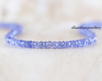 Tanzanite Delicate Beaded Necklace in Sterling Silver, Gold or Rose Gold Filled, Dainty faceted Lilac Gemstone Choker, Layering Necklace