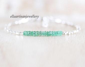 Zambian Emerald, Sterling & Fine Silver Bracelet, Genuine Natural Emerald Dainty Bracelet, Karen Hill Tribe Silver Beaded Jewelry for Women