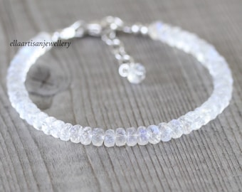Rainbow Moonstone Beaded Bracelet in Sterling Silver, Gold or Rose Gold Filled with 4.5mm AAA Faceted Beads
