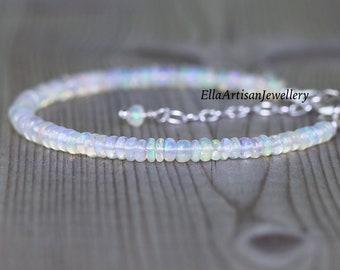 Delicate Ethiopian Welo Opal Bracelet in Sterling Silver, Gold or Rose Gold Filled, Dainty Tiny Beaded Gemstone Stacking Bracelet for Women