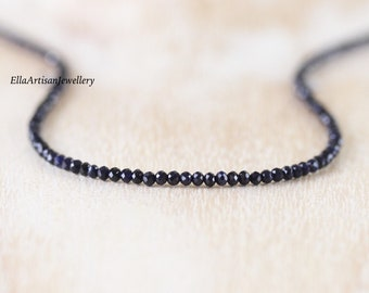 Deep Blue Sapphire Beaded Necklace in Sterling Silver, Gold or Rose Gold Filled, Dainty Gemstone Choker, Long Delicate Layering Necklace