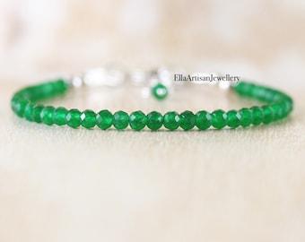 Jade Dainty Bracelet in Sterling Silver, Gold or Rose Gold Filled. Delicate Green Gemstone Stacking Bracelet. Beaded Boho Jewelry for Women