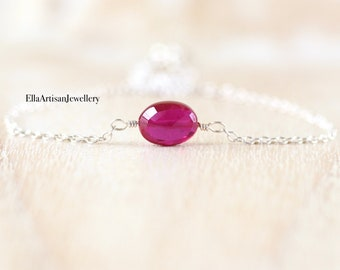 Ruby Necklace in 925 Sterling Silver, 14Kt Gold or Rose Gold Filled. Dainty Red Gemstone Choker. Delicate Minimalist Jewelry for Women