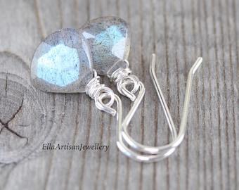 Labradorite & Sterling Silver Earrings. Dainty Blue Flash Gemstone Drop Earrings. Small Dangle Earrings for Women. Wire Wrapped Boho Jewelry