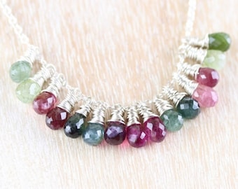 Watermelon Tourmaline & Sterling Silver Cluster Necklace, Pink, Green, Blue Multi Color Gemstone Necklace, Wire Wrapped Jewellery for Women