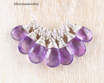 Amethyst & Sterling Silver Cluster Necklace. Dainty Purple Gemstone Pendant. Wire Wrapped Layering Necklace. Boho, Hippie Jewelry for Women