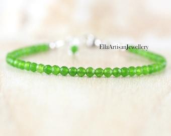 Jade Dainty Beaded Bracelet in Sterling Silver, Gold or Rose Gold Filled. Delicate Green Gemstone Stacking Bracelet. Boho Jewelry for Women