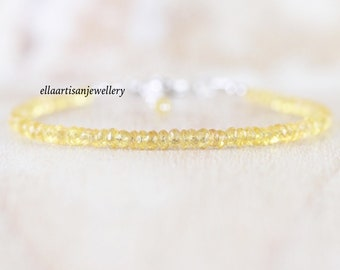 Yellow Sapphire Dainty Bracelet in Sterling Silver, 14Kt Gold or Rose Gold Filled, Delicate Beaded Gemstone Stacking Bracelet for Women
